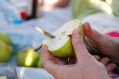 Übergeben Sie den Schnitt einer Birne mit Messer während des Picknicks lizenzfreie stockfotos