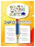 Übergeben Sie die gezogene Art, die mit Bleistift- und Buchelementen infographic ist Lizenzfreie Stockfotos