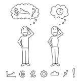 Übergeben Sie die gezogenen Artzahlen, welche die Köpfe verkratzen, die Verwirrungskonzepte innerhalb der Gedankenwolken zeigen stock abbildung