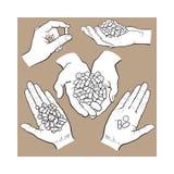 Übergeben Sie die gezogenen Hände, die Stapel von Pillen, Kapseln, Tabletten halten vektor abbildung