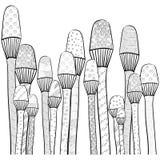 Übergeben Sie die gezogenen magischen Pilze mit hohem detalization lokalisiert auf weißem Hintergrund Stockbild