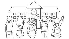 Übergeben Sie die gezogenen Studenten, die vor Schulhaus, zurück zu Schule, für Gestaltungselement und Malbuchseite für Kinder st Stockbild