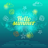 Übergeben Sie die Zeichnungselementsommerstimmungs-Sommerferien beschriftend, Vektorillustration Stockbilder