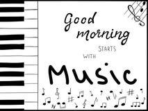 Übergeben Sie drawnl Klavierschlüssel mit Handbeschriftungstext vektor abbildung