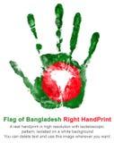 Übergeben Sie Druck der rechten Hand in den Farben der Flagge von Bangladesch, grüne Flagge mit roter Runde Stockfotos