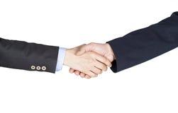 Übergeben Sie Erschütterung zwischen einem Geschäftsmann und einer Geschäftsfrau auf weißem Hintergrund Lizenzfreie Stockfotografie