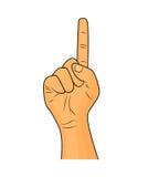 Übergeben Sie Finger herauf Gestenvektor - realistische Karikaturillustration Bild des menschlichen Handzeichens oben zeigend Bil Stockfotografie