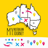 Übergeben Sie gezeichnet meinem australischen Reisekartenprojekt mit Stockfotos