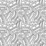 Übergeben Sie gezeichnetes künstlerisch ethnisches dekoratives nahtloses Muster mit Herzen und romantischen Gekritzelelementen stock abbildung
