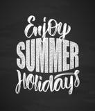 Übergeben Sie gezogene Art Beschriftungszusammensetzung von Enjoy Sommerferien auf Tafelhintergrund vektor abbildung