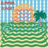 Übergeben Sie gezogene Art des Sommersonnenuntergangs mit abstraktem Hintergrund stock abbildung
