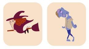 Übergeben Sie gezogene Artkarikatur der Hexe und des Zombies Stock Abbildung