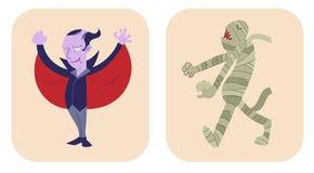 Übergeben Sie gezogene Artkarikatur von Dracula und von Mama Lizenzfreie Abbildung