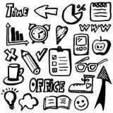 Hand gezeichnete Bürogeschäftsikonen, Satz Stockfotos