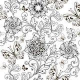 Übergeben Sie gezogene Blumen für die Antidruckfarbtonseite vektor abbildung