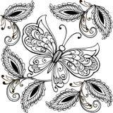 Übergeben Sie gezogene Blumen und Schmetterlinge für die Antidruckfarbtonseite Nahtlose mit Blumenverzierung mit Schmetterlingen lizenzfreie abbildung