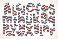 Übergeben Sie gezogene Buchstaben im amerikanischen Sternenbanner im Muster Lizenzfreies Stockfoto