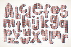 Übergeben Sie gezogene Buchstaben im amerikanischen Sternenbanner im Muster Lizenzfreie Stockfotos