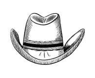 Übergeben Sie gezogene Cowboyhut-Vektorillustration, Landwestart Lizenzfreie Stockfotografie