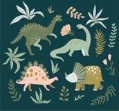 Übergeben Sie gezogene Dinosaurier, tropische Blätter und Blumen Nettes Dino-Design Auch im corel abgehobenen Betrag lizenzfreie abbildung