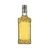 Übergeben Sie gezogene Flasche voll Goldtequila, Vektorillustration lizenzfreie abbildung