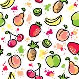 Die gezeichnete Hand trägt Muster Früchte lizenzfreie abbildung