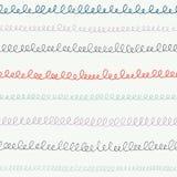 Übergeben Sie gezogene Gekritzel, Kalligraphieschleifen, Handschrift, Streifen, Linien Zurück zu nahtlosem Musterhintergrund des  Stockfotografie