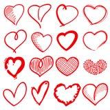 Übergeben Sie gezogene Herzformen, Romanze Liebesgekritzel-Vektorzeichen für Feiertagsdekor stock abbildung