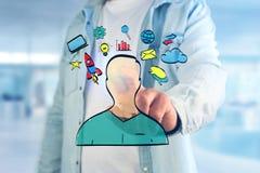 Übergeben Sie gezogene Ikone des Geschäfts, der Multimedia und der Technologie im intera Lizenzfreies Stockfoto