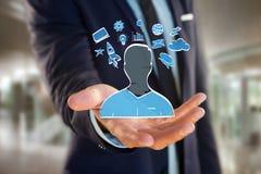 Übergeben Sie gezogene Ikone des Geschäfts, der Multimedia und der Technologie im intera Lizenzfreie Stockfotos