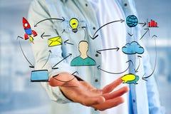 Übergeben Sie gezogene Ikone des Geschäfts, der Multimedia und der Technologie im intera Lizenzfreie Stockbilder