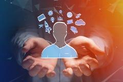 Übergeben Sie gezogene Ikone des Geschäfts, der Multimedia und der Technologie im intera Stockfotos