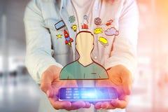Übergeben Sie gezogene Ikone des Geschäfts, der Multimedia und der Technologie im intera Lizenzfreies Stockbild