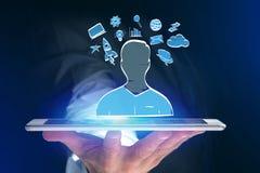 Übergeben Sie gezogene Ikone des Geschäfts, der Multimedia und der Technologie im intera Stockbild