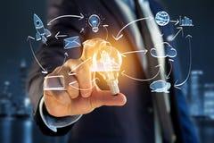 Übergeben Sie gezogene Ikone des Geschäfts, der Multimedia und der Technologie im intera Lizenzfreie Stockfotografie