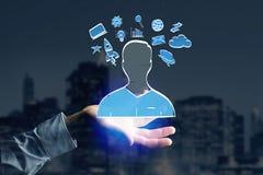 Übergeben Sie gezogene Ikone des Geschäfts, der Multimedia und der Technologie im intera Stockbilder