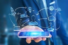 Übergeben Sie gezogene Ikone des Geschäfts, der Multimedia und der Technologie im intera Stockfoto