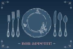 Übergeben Sie gezogene Illustration des gelockten dekorativen silbernen Geschirrs, überziehen Sie einen blauen Hintergrund Lizenzfreies Stockfoto