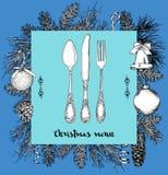 Übergeben Sie gezogene Illustration des gelockten dekorativen silbernen Geschirrs, überziehen Sie einen blauen Hintergrund Vektor Lizenzfreie Stockbilder
