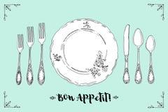 Übergeben Sie gezogene Illustration des gelockten dekorativen silbernen Geschirrs, überziehen Sie einen Türkishintergrund Gedecks Stockbilder