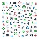 Übergeben Sie gezogene Illustration mit verschiedenen Zeichen, Symbolen und elemen Stockbild