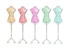 Übergeben Sie gezogene Illustration - Modemannequin - Regenbogenfarben Lizenzfreie Stockbilder