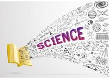 Übergeben Sie gezogene Illustration und Formeln über die Wissenschaft, die heraus von geöffnetem Buch fließt Vektor auf Lager Lizenzfreies Stockbild
