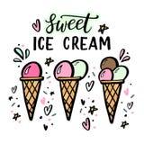 Übergeben Sie gezogene Illustrationen der Eiscreme mit Handbeschriftung Stockbilder