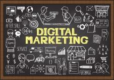 Übergeben Sie gezogene Informationsgraphik auf Tafel mit digitalem Marketing-Konzept Stockfotografie