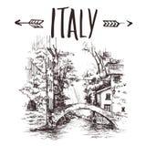 Übergeben Sie gezogene Italien-Brücke, städtische Skizze der Brücke Von Hand gezeichnete Buchillustration, touristische Postkarte Stockfotos