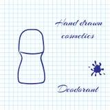 Übergeben Sie gezogene Linie Kunstkosmetik auf Notizbuchpapierhintergrund Desodorierendes Mittel gezeichnet mit einem Stift Lizenzfreie Stockbilder