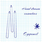 Übergeben Sie gezogene Linie Kunstkosmetik auf Notizbuchpapierhintergrund Eyepencil gezeichnet mit einem Stift Stockfotos