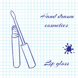Übergeben Sie gezogene Linie Kunstkosmetik auf Notizbuchpapierhintergrund Lipgloss gezeichnet mit einem Stift Lizenzfreies Stockbild