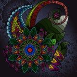 Übergeben Sie gezogene Mandala, Rundschreiben farbiges Muster für Stockfotografie